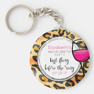 Last Fling Before The Ring Wild Bachelorette Party Keychain