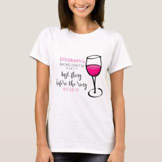Last Fling Before The Ring Wine Glass Bachelorette T-Shirt