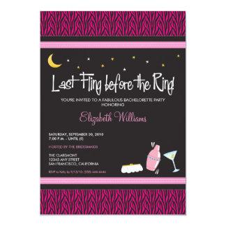 Last Fling Zebra Bachelorette Invitation (fuschia)