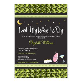 Last Fling Zebra Bachelorette Invitation (lime)