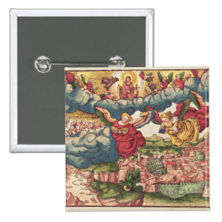 Last Judgement, from the Luther Bible, c.1530 2 Inch Square Button