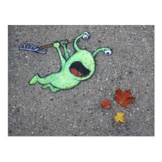 last leaves of autumn postcard