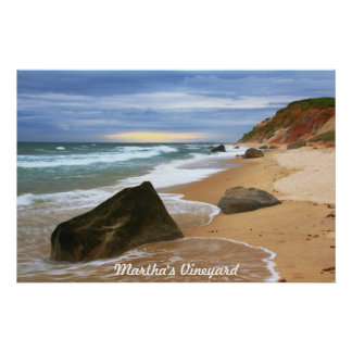 Last Light beach seascape Martha's Vinyard Poster
