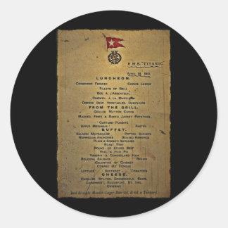 Last Menu RMS Titanic Classic Round Sticker