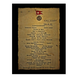 Last Menu RMS Titanic Postcard