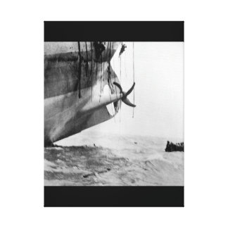 Last minute escape from vessel torpedoed_War Image Canvas Print