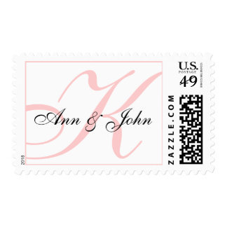 Last Name Initial K plus Names White Pink Stamp