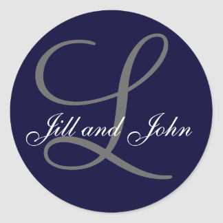 Last Name Initial L plus First Names Navy Sticker