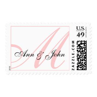 Last Name Initial M plus Names White Pink Stamp