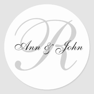 Last Name Initial plus Names Wedding Favor Sticker