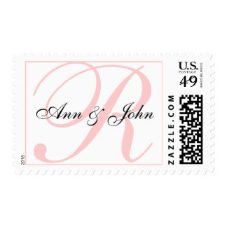 Last Name Initial plus Names White Pink Stamp