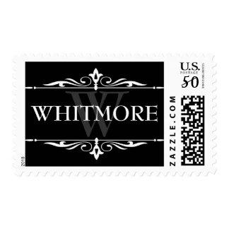 Last Name Postage Stamp - Black