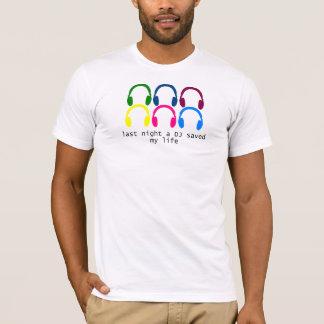 Last Night A DJ Saved My Life Rainbow Headphones T-Shirt