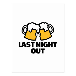 Last night out beer postcard