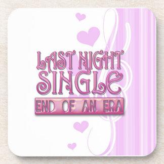 last night single bachelorette wedding party funny drink coaster
