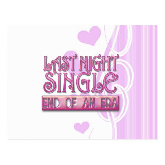 last night single bachelorette wedding party funny postcard