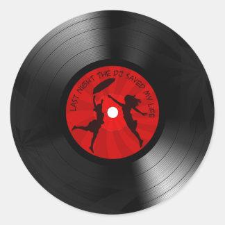 Last Night The DJ Saved My Life Vinyl Record Black Classic Round Sticker