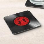Last Night The DJ Saved My Life Vinyl Record Black Beverage Coasters