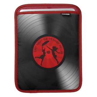 Last Night The DJ Saved My Life Vinyl Record Black iPad Sleeve