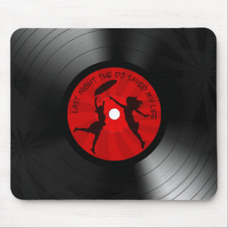 Last Night The DJ Saved My Life Vinyl Record Black Mouse Pad
