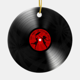 Last Night The DJ Saved My Life Vinyl Record Black Double-Sided Ceramic Round Christmas Ornament