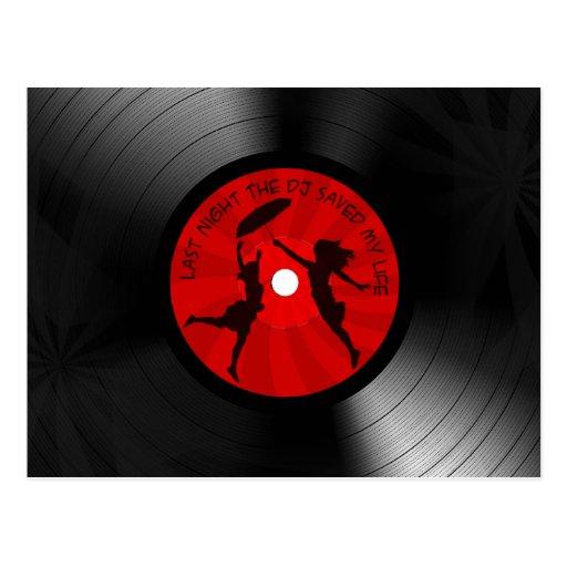 Last Night The DJ Saved My Life Vinyl Record Black Postcard