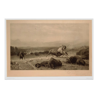 Last of the Buffalo Bierstadt (0137A) - Restored Poster