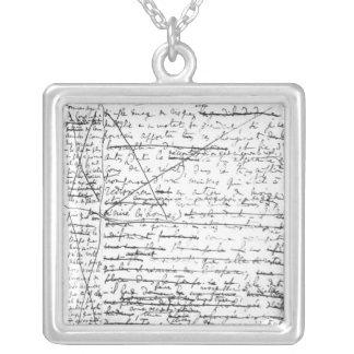 Last page of 'A la Recherche du Temps Perdu' Square Pendant Necklace