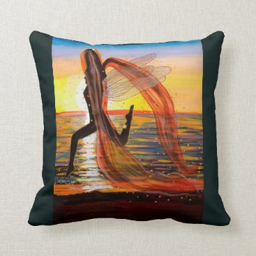 Beach Themed Last Rays of Fire - Sunset Fairy Throw Pillow