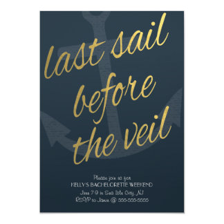 Last Sail Before the Veil Bachelorette in Navy Card