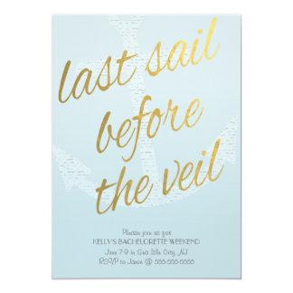 Last Sail Before the Veil Bachelorette in Sky Blue 5x7 Paper Invitation Card