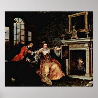 Last Stake de la señora. por William Hogarth Póster