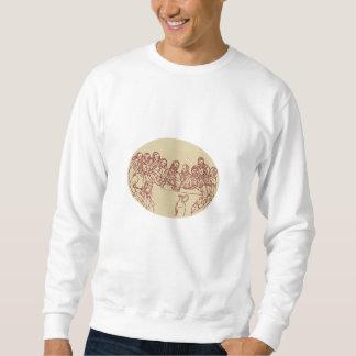 Last Supper Jesus Apostles Drawing Pullover Sweatshirt
