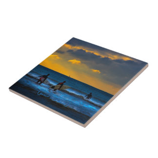 Last Surf Of The Day Small Square Tile