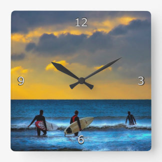 Last Surf Of The Day Square Wall Clocks