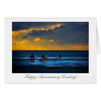 Last Surf Of The Day - Wedding Anniversary Greeting Card