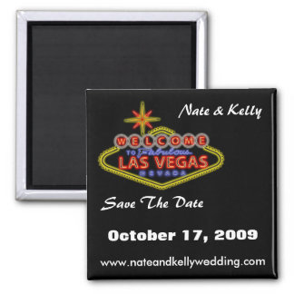 LasVegasSign, Nate & Kelly, Save The Date, Octo... 2 Inch Square Magnet