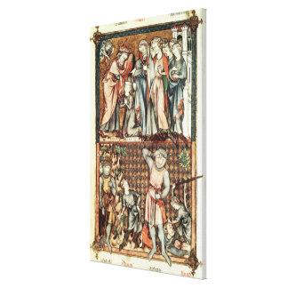 Lat 1023 f 7v David and Goliath con Saul de Le Be Lienzo Envuelto Para Galerías