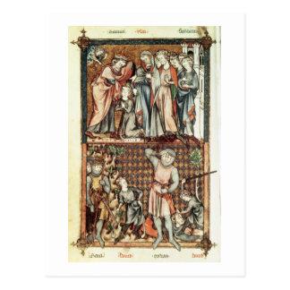 Lat 1023 f 7v David and Goliath con Saul de Le Be Tarjetas Postales
