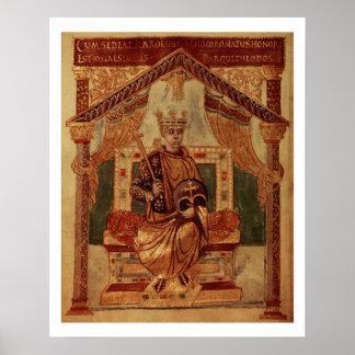Lat 1152 f.3v Carlomagno (Carolus Magnus, Charles Póster