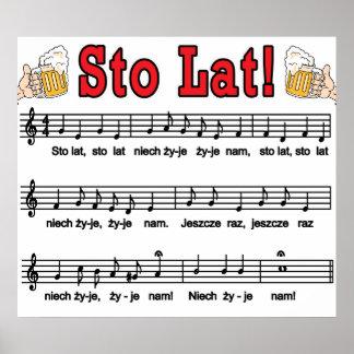 ¡Lat de Sto! Canción con las tazas de cerveza Poster