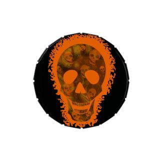 Lata anaranjada del caramelo del cráneo grande frascos de dulces