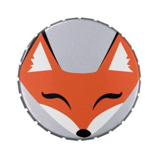 Lata astuta del caramelo de la cara del Fox Jarrones De Dulces