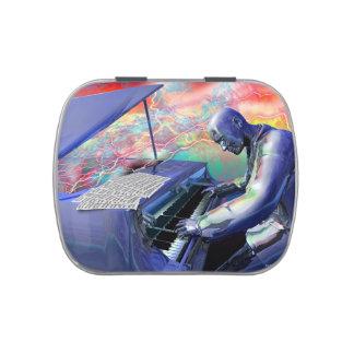 Lata azul del caramelo del piano jarrones de dulces