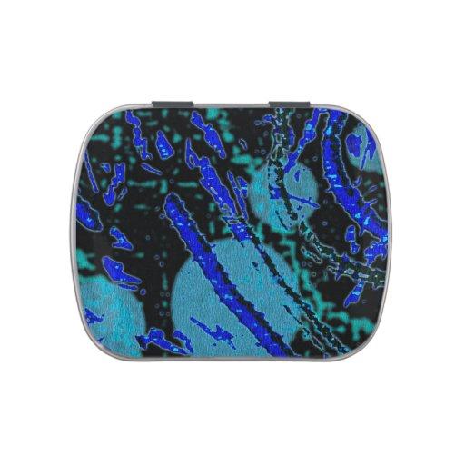 Lata azul negra abstracta celestial de las habas d