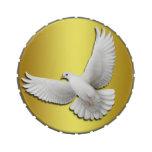 Lata blanca del caramelo de la paloma de la paz qu
