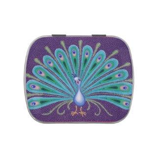 Lata bonita del pavo real de Soozie Wray Frascos De Dulces