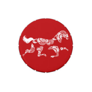 Lata china roja del Año Nuevo del zodiaco del caba Latas De Caramelos