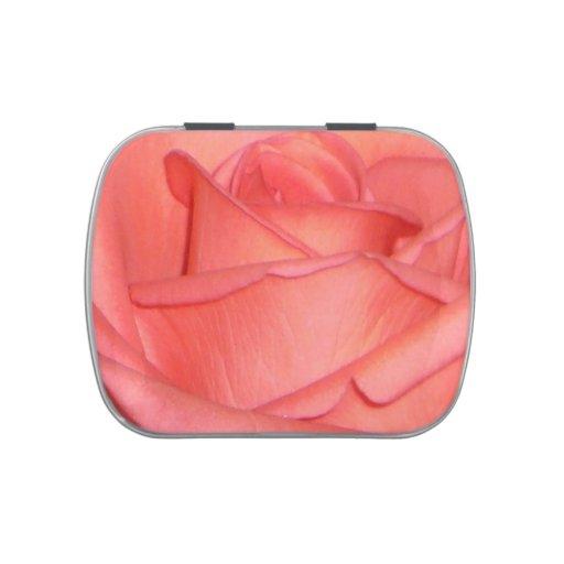 Lata color de rosa rosada coralina del caramelo frascos de caramelos