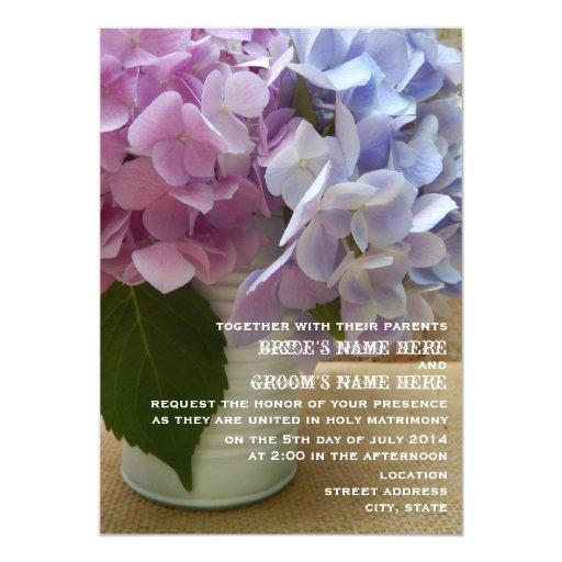 Lata de boda rústico de los Hydrangeas Invitación 12,7 X 17,8 Cm